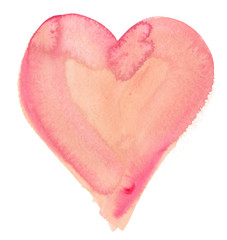 Single big pastel pink heart painted in watercolor on clean white background