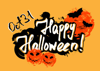 Happy Halloween greeting card with grunge hand written lettering and brush drawn smears in shape of pumpkins and moon on orange background. Trick or treat. Vector illustration