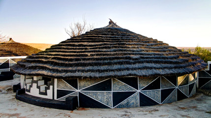 Traditional Ndebele hut at Botshabelo, Mpumalanga, South Africa