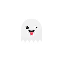 Vector ghost emoji character Halloween icon isolated on white background
