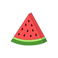 Watermelon cute vector illustration, fresh slice of watermelon graphic print, isolated on white background.