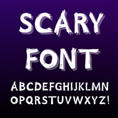 Hand drawn alphabet. Scary font with scratches for halloween cards and posters. Vector illustration.