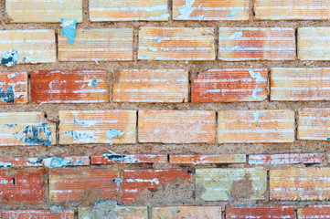 brick wall with remains of glued signs
