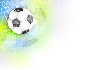 Soccer vector banner with football ball, net, glitter and space for your content.