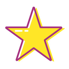 Cartoon yellow star for web, app or game. Rating