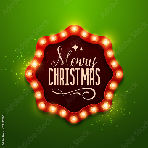 Christmas Background Retro Light Sign Vector Illustration
