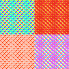 Set seamless color pattern with Polka, composed of shapes. Vector fashion background