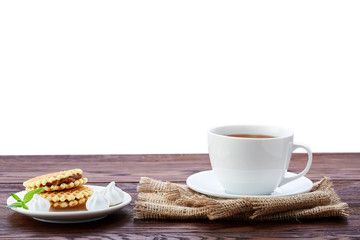 Cup of tea on white background.