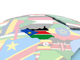 Flag of South Sudan on bright globe