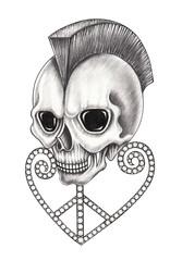 Art peace heart mix punk skull. Hand pencil drawing on paper.