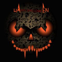 Happy Halloween Monster mask with spider,bat,bones,ghost.Halloween poster , greeting card ,background,flyer,sticker, menu.Vector Illustration. Halloween Party Invitation Design. Typographic Template.