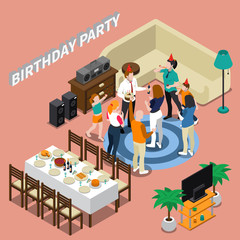 Birthday Party Isometric Composition