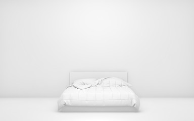 White light room with bed and empty background wall. 3d render
