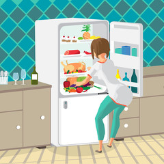Young woman housewife takes out food from the refrigerator in th