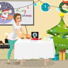 Christmas room interior. Christmas tree, gift and decoration. Yo