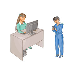 vector flat cartoon teen girl sits at chair behind desktop using pc, looking at monitor typing at keyboard, boy stands with smartphone. Isolated illustration on a white background.