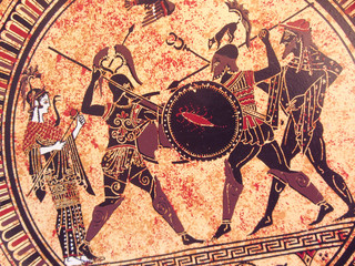 Detail from an old historical greek paint reproduction over a terracotta dish. Unknown mythical heroes and gods fighting on it