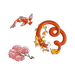 Asian japan, china oriental symbols concept set. Red dragon without wings, traditional koi carp, sakura branch with blooming flowers. Isolated flat vector illustration on a white background.