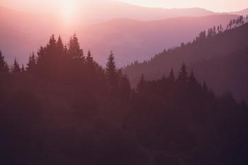 Smoky Mountains ridge at sunrise