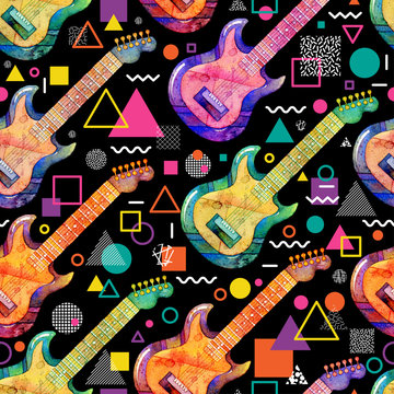 Seamless pattern with watercolor electric guitar and decorative geometric elements on black background. Colorful design for retro party in memphis style. Abstract hand drawn illustration
