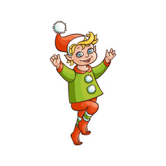 vector flat cartoon hand drawn christmas elf boy dancing or jumping smiling raising hands up. Fairy holiday character in christmas santa hat. Isolated illustration on a white background