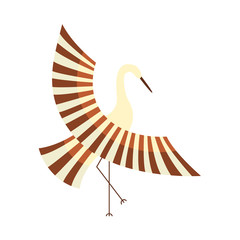 vector flat cartoon style japanese symbols concept. Stylized Japan traditional bird - crane flapping wings icon image. Isolated illustration on a white background.