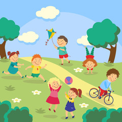 Fotobehang Kasteel Kids, children playing tag and ball, flying kite, cycling and doing handstand in park, garden, yard, flat cartoon vector illustration. Kids playing in yard, garden, park, outdoor activities