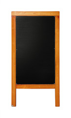 Black standing chalkboard menu in wooden frame