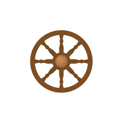 Flat style ship, sailboat steering wheel icon, symbol, decoration element, vector illustration isolated on white background. Flat cartoon vector illustration of wooden ship, sailboat steering wheel