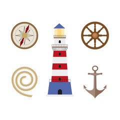 vecotr flat cartoon nautical, marine symbols set. Compass or Rose of Wind and wooden boat steering wheel, anchor, lighthouse, mooring rope, icons. Isolated illustration on a white background.