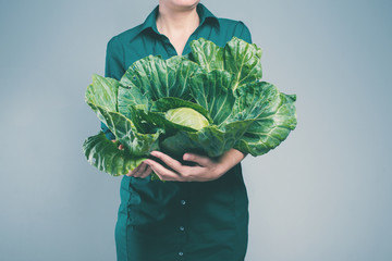 Woman Hands Holding Harvest Cabbage Organic