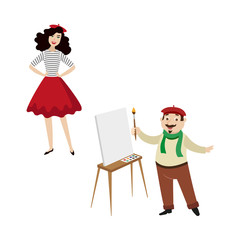 French characters, funny artist and fashion girl, symbols of France, cartoon vector illustration isolated on white background. Typical, stereotypical French people, painter and girl in red beret