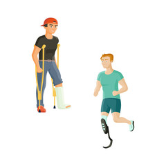 Two young man, one with broken leg and crutches, another with prosthetic leg, flat cartoon vector illustration isolated on white background. Man with a plaster cast and sportsman with artificial leg