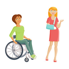 Women with disabilities - broken arm and wheelchair, flat cartoon vector illustration isolated on white background. Two women with injures, one with cast on her arms another having to use wheelchair