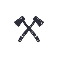 Vintage hand drawn crossed axes shape. Hiking adventure design. Camping icon. Retro monochrome style. Can be used for t shirts, prints, logotype, badges, icons and other identity. Stock