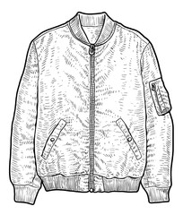Man jacket illustration, drawing, engraving, ink, line art, vector