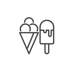 Ice cream line icon, outline vector sign, linear style pictogram isolated on white. Symbol, logo illustration. Editable stroke