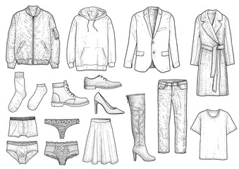 Collection of clothes illustration, drawing, engraving, ink, line art, vector