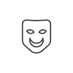 Carnival mask line icon, outline vector sign, linear style pictogram isolated on white. Symbol, logo illustration. Editable stroke