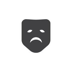 Sad mask icon vector, filled flat sign, solid pictogram isolated on white. Symbol, logo illustration.