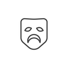 Sad mask line icon, outline vector sign, linear style pictogram isolated on white. Symbol, logo illustration. Editable stroke