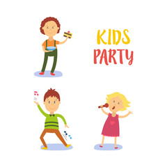 vector flat cartoon kids at party set. Boy dancing happily, another male child character eating piece of cake, girl in pink dress singing at microphone. Isolated illustration on a white background.