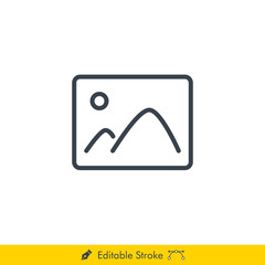 Picture Icon / Vector - In Line / Stroke Design with Editable Stroke