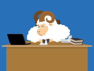 Ram boss. sheep businessman at desk. Farm office. Vector illustration.