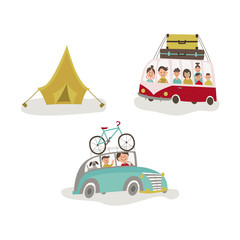 Family traveling by car, bus with baggage on the roof, road trip and camping concept, flat cartoon vector illustration isolated on white background. Family road trip, people travelling by car, bus
