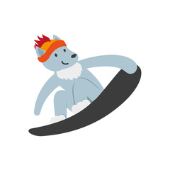 vector flat cartoon funny wolf character snowboarding smiling wearing cap. Winter animal outdoor games, activities concept. Isolated illustrationo on a white background