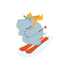 vector flat cartoon funny hippo character having fun mountain skiing smiling wearing cap and scarf. Winter animal outdoor games, activities concept. Isolated illustrationo on a white background
