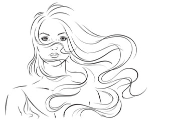 Sketch of beautiful girl with flying hair