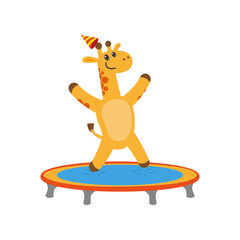 vector flat cartoon cheerful giraffe character jumping on trampoline wearing party hat happily smiling. isolated illustration on a white background. Animals party concept