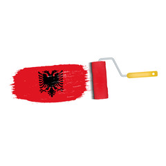 Brush Stroke With Albania National Flag Isolated On A White Background. Vector Illustration. National Flag In Grungy Style. Brushstroke. Use For Brochures, Printed Materials, Logos, Independence Day